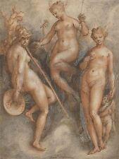 Jan van der Straet fiammingo tre goddesses MINERVA Juno VENERE ART PRINT bb5798a
