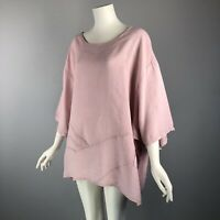 Made In Italy Womens Top One Size Tunic Linen Pink Lagenlook Wearable Art