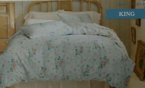 Simply Shabby Chic KING Lilly Rose Duvet Cover + Sham ~ NEW Blue/Pink