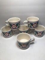 6 PFALTZGRAFF ''ARBOR VINE'' COFFEE TEA MUG CUPS RED FLOWER