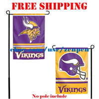 "Minnesota Vikings Logo Garden Outdoor Flag Double Sides 12x18"" NFL 2019 Fan NEW"