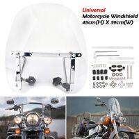 """7/8"""" & 1""""Universal Motorrad Windschutzscheibe Windschutz Lenker Für Harley Honda"""