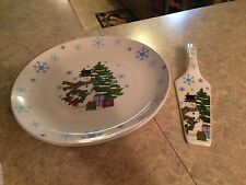 Snowman plate and server set