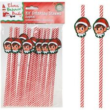 CHRISTMAS NAUGHTY ELF DRINKING STRAW X20 PACK ELVES KIDS PARTY SUPPLIES