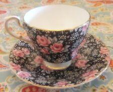 Paragon Black w Pink Rose Chintz Tea Cup & Saucer England Potters