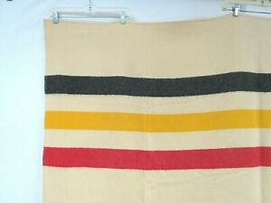 Vintage 50s 60s Blanket Hudson Stripe Wool Bold Yellow Black Crm Red Bay Blanket