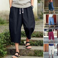 Retro Men Summer Linen Cropped Trousers Loose Youth Casual Short Harem Pants