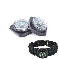 2pcs Compass Slip Slide on Watch Band Wrist For Survival Paracord Rope BLCA