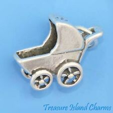 BABY BUGGY CARRIAGE STROLLER 3D .925 Solid Sterling Silver Charm MADE IN USA