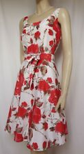 Laura Ashley Kleid 40 Seide Baumwolle Blumen weiß rot Hochzeit Cocktail Sommer