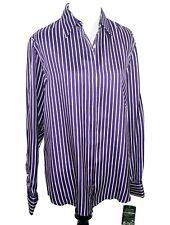 Ralph Lauren Women's Button Front Medium Purple White Striped 100% Silk