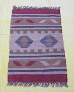 Afghan Kilim Wool Area Rug Decorative Nomadic Door Mat Bedroom Flat-Weave 2x3 ft