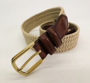 Brooks Brothers Stretch Belt 34 Leather Trim Beige Brown
