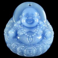 Charming Carved Blue Jade Buddha 46x42x10mm Pendant Bead DW144