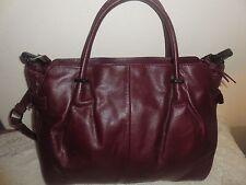 NWT Elliott Lucca Caberent Devi Burgundy Woven Leather Satchel Shoulder Bag