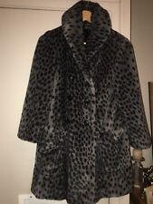 TOPSHOP Gris Estampado de Leopardo Abrigo Chaqueta De Piel Sintética UK 6 Borg Teddy