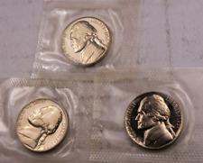 1957+1958+1959 Jefferson Nickel Set // Gem Proof // IN CELLO //. 3 Coins