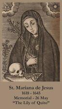 St Mariana of Jesus Prayer CARD (wallet size)