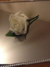 10 x Ivory rose wedding buttonhole package/ wedding flowers Diamante Pearl