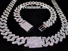 Miami Cuban Link Chain Necklace Bracelet Diamond Prong Hip Hop Jewelry COMBO SET
