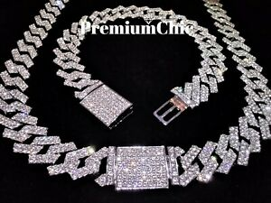 Miami Cuban Link Chain Necklace Bracelet Diamond Prong Hip Hop Jewelry COMBO SET
