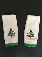2 - Spode Christmas Tree Single Fingertip Towel~Embroidered Ivory Green Trim