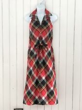 Craig Red Check Plaid Cotton Sundress Dress Sz 3/ 4 Small VNeck Tie Waist Pocket