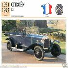 CITROËN B2 1921 1925 CAR VOITURE FRANCE CARTE CARD FICHE
