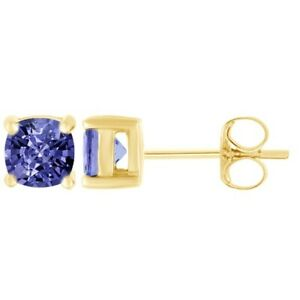 1.10ct Cushion Tanzanite 18k Yellow Gold Over Sterling Silver Studs Earrings