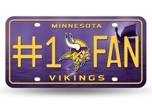 Minnesota #1 Vikings Fan Metal Auto License Plate Tag - For Car, Truck or Wall