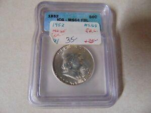 US COIN MINT CERTIFIED ENCASED 1952 HALF DOLLAR ICG- MS64 FBL