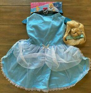 Cinderella Dog Costume - LARGE - Dress, Ribbon Necklace, Bun Wig - Rubie's - NWT