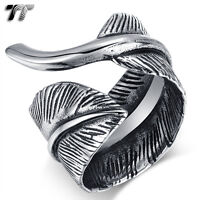 Quality TT 316L Stainless Steel Feather Cuff Ring  Size 6-11 (RZ162) NEW Arrival
