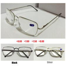 Reading Glasses +6.5 +7.0 +7.5 +8.0 Optical Lens Black Silver Metal Frame Reader