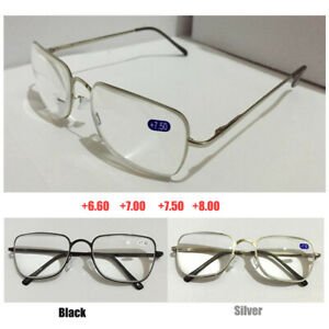 Reading Glasses +6.50 +7.00 +7.50 +8.00 Highly Strength Black Silver Metal Frame