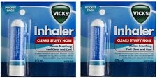 2 x VICKS INHALER 0.5ml For BLOCKED NOSE CONGESTION NATURAL RELIEF Brand New