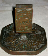 ANTIQUE TIFFANY STUDIOS BRONZE ZODIAC ART MATCH BOX HOLDER ASHTRAY TRAY SMOKING