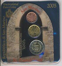 San Marino KMS klein 2005 3 Münzen 2 Cent bis 2 Euro st  (M00101)