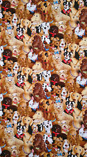 Cotton fabric Cute Dogs design for patchwork  Bags Crafts Dress etc Fat Quater