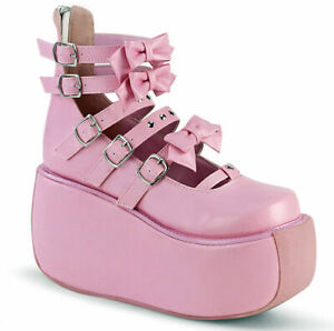 "Pleaser Demonia White 3 1/2"" Platform Ankle Boots Shoes Adult Women VIOLET45/WVL"