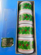 4 Ceramic Christmas Holly Napkin Rings NEW in BOX Vintage Hallmark plastic
