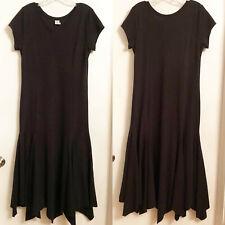 PERUVIAN CONNECTION Black Cotton Knit Long Flair Maxi Dress Size M