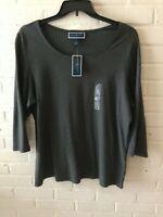 New Karen Scott Woman's Scoop Neck Knit Tee Top  Charcoal Plus Sizes 0X & 1X T19