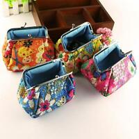 Women Lady Retro Vintage Flower Small Wallet Hasp Purse Embroidered Clutch Bag