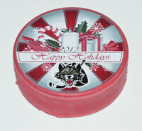 CHICAGO WOLVES Happy Holidays 2012 Logo ECHL HOCKEY RED COLORED PUCK Exclusive