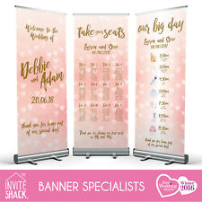 1 Blush Gold Wedding Pull Roll Up Roller Banner Sign/Welcome/Table Plan/Timeline
