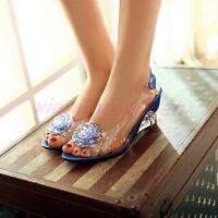 Chic Open Toe Womens Dress Crystal Flower Shoes Mid Wedge Heels Ladies Sandals