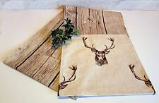 Nordic Christmas handmade table runner -  stags & rustic wood planks board look