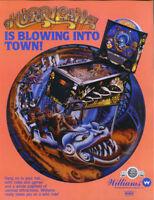 HURRICANE Pinball FLYER 1991 Original NOS Promo Game Artwork Sheet Williams