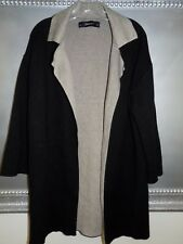 Zara Bonded Knit Coat Black / Tan Pockets Modern Sleek Minimal M EUC